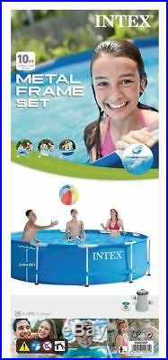 Intex 10ft Metal Steel Frame Pool Set, Above Ground Swimming Pool with Pump