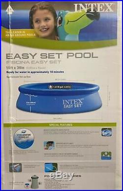 Intex 10ft x 30in Inflatable Ring Easy Set Above Ground Pool with FREE FILTER PUMP