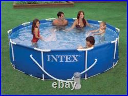Intex 10ft x 30in Metal Frame Above Ground Pool Set & 6 Type H Filter Cartridges