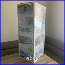 Intex 12ft (3.7m) Grey Round Prism Frame Above Ground Pool With Filter Pump -new