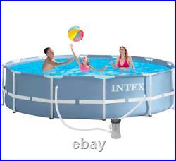 Intex 12ft (3.7m) Round Prism Swimming Pool Above Ground Metal Frame + Filter