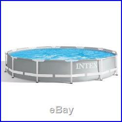 Intex 12ft X 30 Deep Round Prism Frame Above Ground Swimming Pool Filter Pump