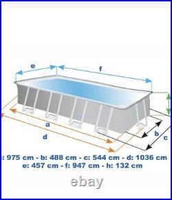 Intex 26374 Ultra Xtr Frame Large Above Ground Pool Rectangular 975x488x132cm