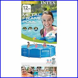 Intex 28211EH 12' x 30 Metal Frame Round Above Ground Swimming Pool with Pump