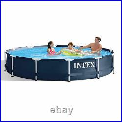 Intex 28211ST 12' x 30 Metal Frame Round Above Ground Swimming Pool with Pump