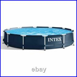 Intex 28211ST Metal Frame Round Above Ground Swimming Pool with Pump Navy Blue