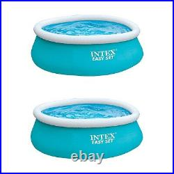 Intex 6ft x 20in Easy Set Inflatable Above Ground Swimming Pool, Blue (2 Pack)