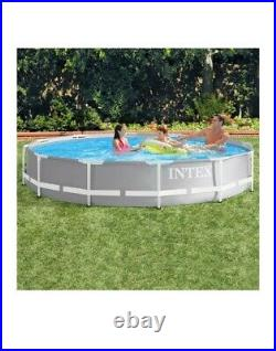 Intex Grey 12ft (3.7m) Round Prism Frame Above Ground Pool without filter Pump