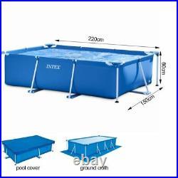 Intex Metal Frame Tube Rectangular Above Ground Summer Play Swimming Pool Set