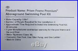 Intex Prism Premium Frame Above Ground Swimming Pool kit 12 x 39 Grey 26716UK
