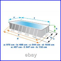 Intex Ultra XTR Rectangular Above Ground Swimming Pool 975 x 488 x 132