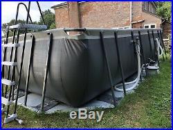Intex Ultra Xtr Rectangular Above Ground Steel Framed 18ft X 9ft Swimming Pool
