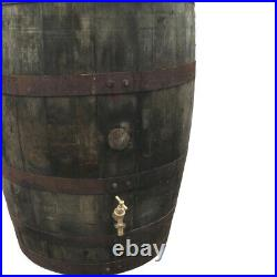 Oak barrell water butt tank 200 liters with Brass tap with Lid for garden