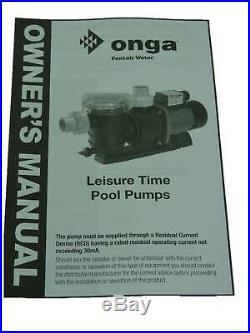 Onga LTP1100 Leisure Time Pool Pump 1.5 HP Swimming Pool & Solar Pump LTP-1100