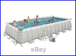 Pool 24' x 12' x 52 Power Steel Rectangular Above Ground Swimming Pool Set