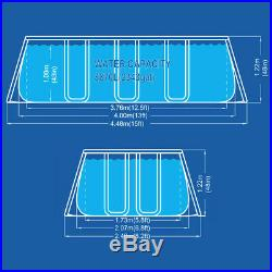 Power Steel Frame Swimming Pool 400x207xh122cm Set Round Above Ground 17727EU