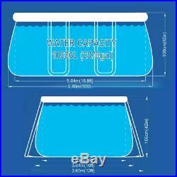Power Steel Frame Swimming Pool 540x304x106cm Set Round Above Ground 17449EU