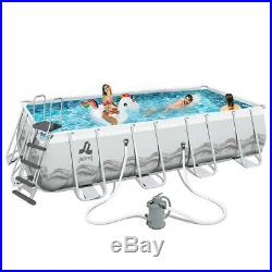 Power Steel Frame Swimming Pool 549x305xh122cm Set Round Above Ground 177281eu