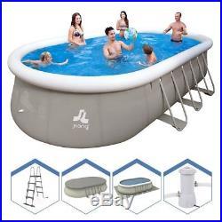 Power Steel Frame Swimming Pool 610x360x122cm Set Round Above Ground 17023EU