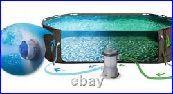 RATTAN PRINT OVAL SWIMMING POOL 14ft x 8.2ft x 39.5in GARDEN ABOVE GROUND