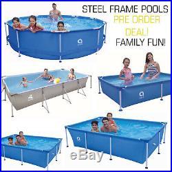 SWIMMING POOL 200-400cm Rectangular & Round Garden Above Ground Pool Steel Frame