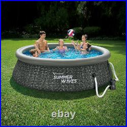 Summer Waves 10ft x 2.5ft Above Ground Inflatable Swimming Pool with Pump