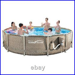 Summer Waves 12 x 30 Outdoor Round Frame Above Ground Swimming Pool with Pump