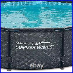 Summer Waves 12' x 33 Outdoor Round Frame Above Ground Swimming Pool with Pump
