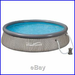 Summer Waves 12' x 36 Quick Set Ring Above Ground Pool with Pump, Gray Wicker