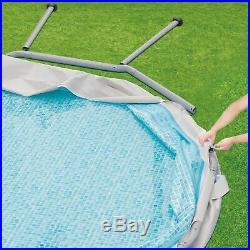 Summer Waves 14' Elite Frame Above Ground Swimming Pool Filter Pump Cover Ladder