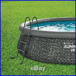 Summer Waves 14 x 3 Ft Quick Set Above Ground Swimming Pool with Pump and Ladder