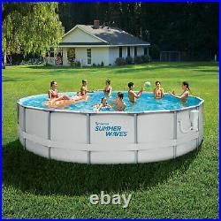 Summer Waves Elite 12 Foot Metal Frame Above Ground Pool Set with Filter Pump