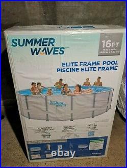 Summer Waves Elite 16ft x 48' Above Ground Swimming Pool Frame pump+ ladder