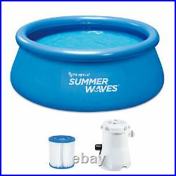 Summer Waves Quick Set 8ft x 30in Inflatable Ring Above Ground Pool Set with Pump