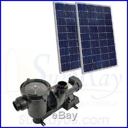 SunRay Solar Powered DC Above Ground 0.5HP 2 100w Panel 34v Pond Pool Pump