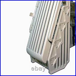 Vinyl Works AF Adjustable 24 Inch Gated Entry Above Ground Pool Ladder, White