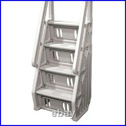 Vinyl Works Adjustable 24 Inch In-Pool Step Ladder for Above Ground Pools, Taupe