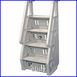 Vinyl Works Adjustable 24 Inch In-Pool Step Ladder for Above Ground Pools, White