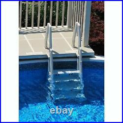 Vinyl Works Adjustable 32 Inch In-Pool Step Ladder for Above Ground Pools, White