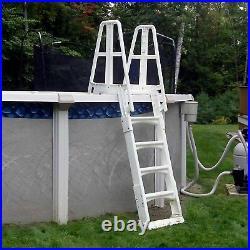 Vinyl Works SLA A-Frame Adjustable 48-56 Inch Above Ground Pool Ladder, White