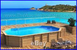 Weva Octo+ 840 Octagonal 8.43 x 4.89m Above Ground Wooden Swimming Pool 133cm